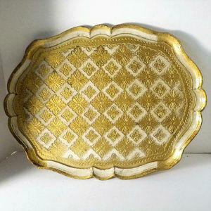 """Other - Italy Gold Medallion-Floral Serving Tray 16.75"""""""